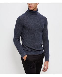 Blue Twist Knit Turtle Neck Jumper  | New Look