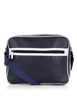 Navy Stripe Trim Flight Bag  | New Look