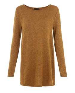 Mustard Fine Knit Swing Tunic Top  | New Look