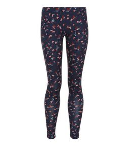 Girls Blue Butterfly and Bird Print Leggings | New Look