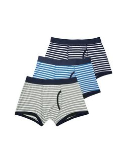 3 Pack Blue and Grey Stripe Boxer Shorts  | New Look
