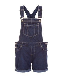 Blue Denim Pocket Front Short Dungarees | New Look