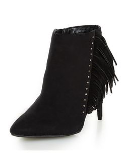 Wide Fit Suedette Fringe Trim Heeled Ankle Boots  | New Look