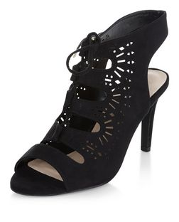Wide Fit Black Suedette Laser Cut Out Ghillie Heels  | New Look