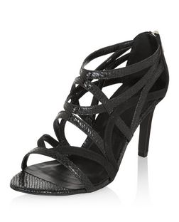 Black Leather-Look Caged Heels  | New Look