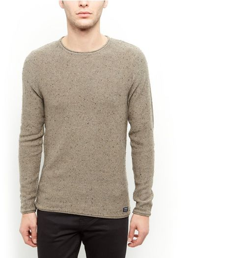Produkt Light Green Flecked Crew Neck Jumper  | New Look