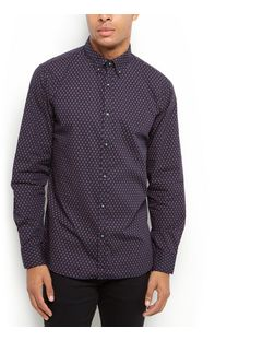 Produkt Black Geo Print Long Sleeve Shirt  | New Look
