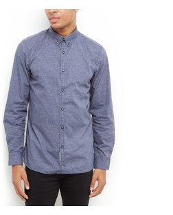 Produkt Navy Textured Long Sleeve Shirt  | New Look