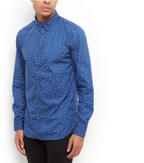 Produkt Blue Abstract Print Long Sleeve Shirt  | New Look