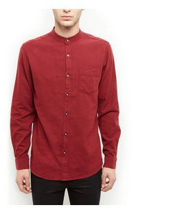 Produkt Burgundy Single Pocket Grandad Collar Long Sleeve Shirt  | New Look