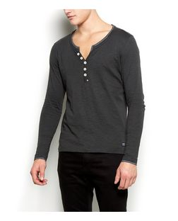 Produkt Black Button Front Long Sleeve Top | New Look