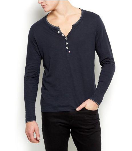 Produkt Navy Button Front Long Sleeve Top | New Look