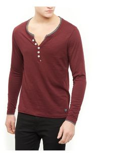 Produkt Burgundy Button Front Long Sleeve Top  | New Look