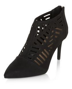 Wide Fit Black Suedette Laser Cut Out Shoe Boots | New Look