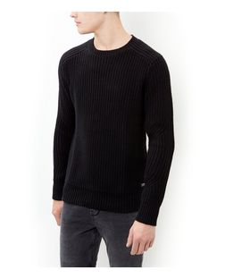 Produkt Black Textured Knit Crew Neck Jumper  | New Look