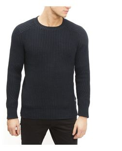 Produkt Navy Textured Knit Crew Neck Jumper  | New Look