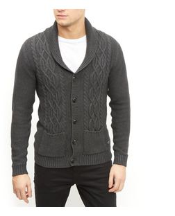 Produkt Dark Grey Cable Knit Cardigan  | New Look