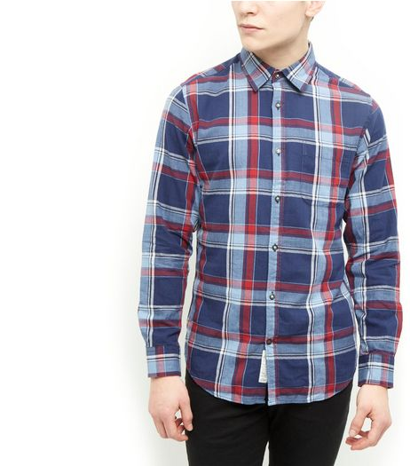 Produkt Navy Herringbone Check Shirt | New Look