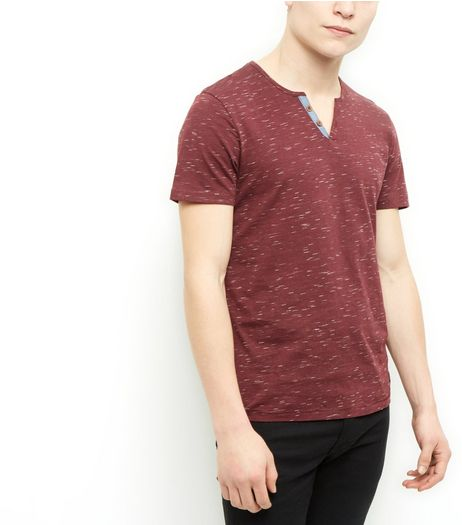 Produkt Red Space Dye Button Front T-Shirt | New Look