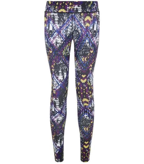 Purple Abstract Print Sports Leggings | New Look