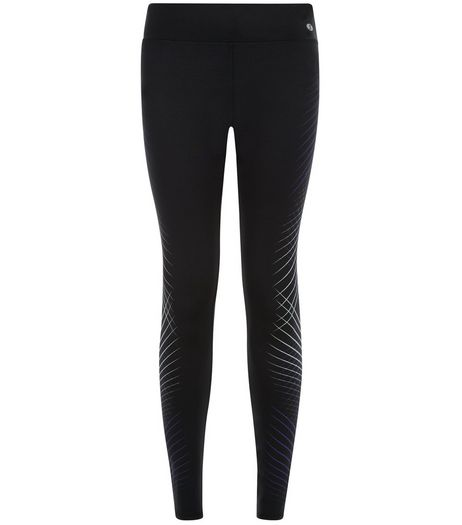Black Cross Stripe Sports Leggings  | New Look
