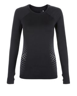 Black Cross Stripe Side Long Sleeve Sports Top  | New Look