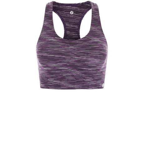 Purple Space Dye Sports Crop Top  | New Look