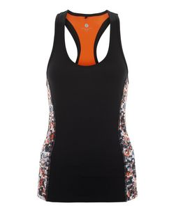 Orange Abstract Print Side Panel Sports Vest | New Look