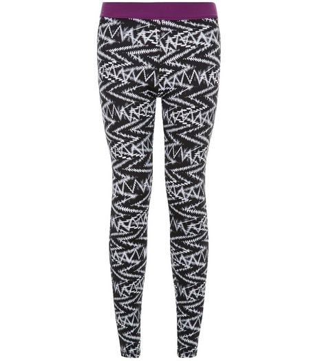 Black Zig Zag Print Sports Leggings  | New Look