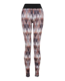 Orange Abstract Print Sports Leggings  | New Look