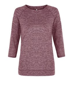 Dark Red Marl 3/4 Sleeve Yoga Sports Top  | New Look