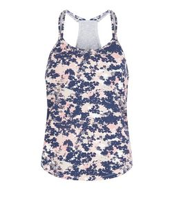 Pink Floral Print Yoga Sports Vest | New Look