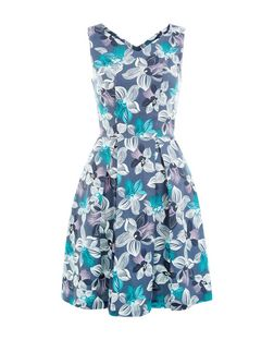 Floral V Neck Skater Dress | New Look