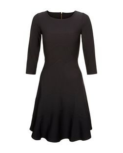 Closet Black 3/4 Length Sleeve A-Line Dress | New Look