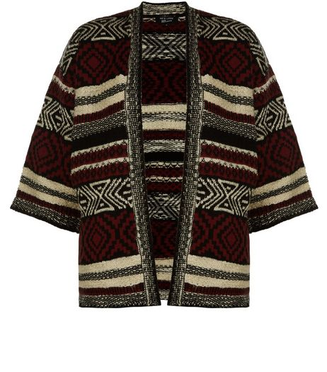 Teens Burgundy Aztec Print Knitted Kimono | New Look