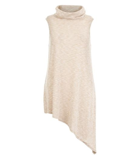 Camel Ribbed Cowl Neck Asymmetric Sleeveless Top | New Look