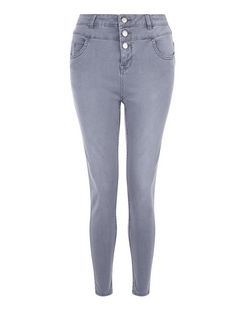 Petite 28in Grey High Waisted Supersoft Skinny Jeans  | New Look