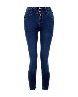 Petite 26in Blue High Waist Supersoft Skinny Jeans | New Look