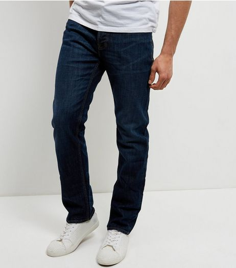 Navy Washed Straight Leg Jeans | New Look
