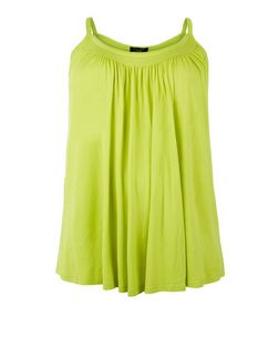 Curves Lime Shirred Trim Cami  | New Look