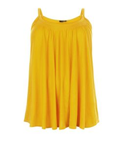 Plus Size Yellow Shirred Trim Cami  | New Look