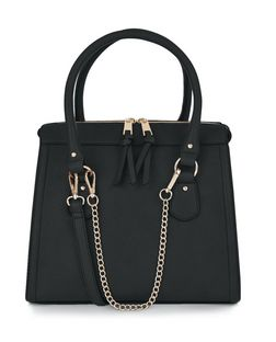 Black Chain Strap Structured Bag  | New Look