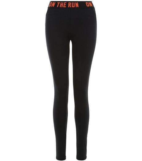 Black On The Run Sports Leggings  | New Look