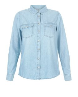 Petite Pale Blue Double Pocket Denim Shirt | New Look