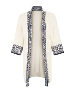 Black Aztec Border Knitted Kimono  | New Look