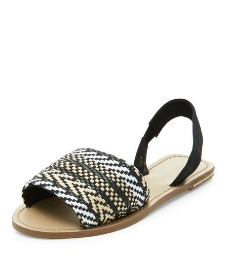 Black Zig Zag Woven Sling Back Sandals  | New Look
