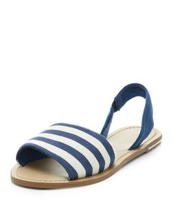 Navy Stripe Sling Back Sandals  | New Look