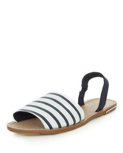Blue Stripe Sling Back Sandals  | New Look
