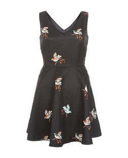 Mela Black Bird Print V Neck Skater Dress | New Look