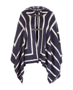 Mela Navy Knitted Cape  | New Look